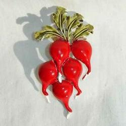 Vintage 40s Coro Red Enamel Radish Radishes Brooch Pin