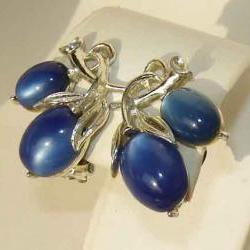 Vintage 60s Lisner Moonglow Lucite Blue Floral Earrings